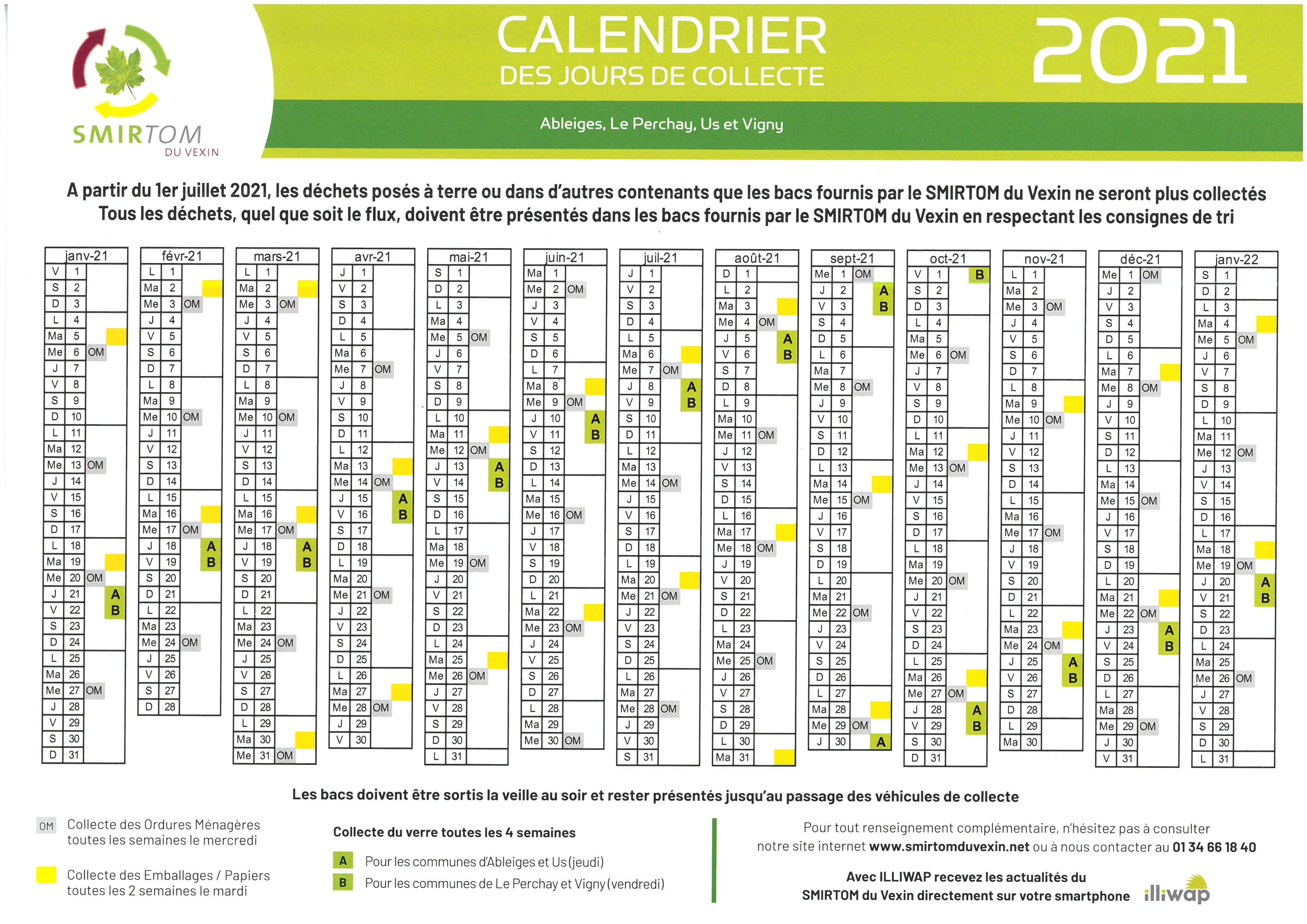 Smirtom Du Vexin Calendrier 2022 Calendrier SMIRTOM 2021 | Vigny